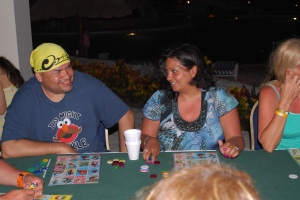 Mexican Bingo night, aka, Loteria. Nice hat Oscar.