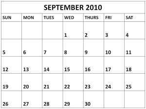 Blank September 2010 calendar BS1