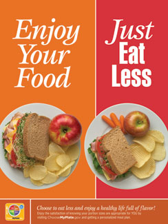 enjoy your food just eat less poster
